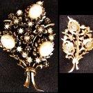 Pin pearl like cabochon & rhinestones bouquet vintage rhinestone pin