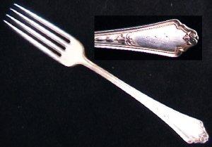 Gorham Shelburne silverplate fork monogram S 1914 mark GMCo