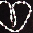 "Avon necklace white pink aqua beads 30"" plastic beads jewelry"