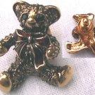 Avon pin teddy bear goldtone c1990 red ribbon