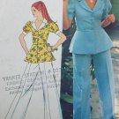 Vintage sewing pattern Simplicity 5630 princess peblum jacket wide leg pants sz 8 1973