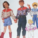 McCall 6451 child sewing pattern western shirt pants sz 2 3 4