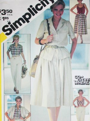 Simplicity 5385 uncut sewing pattern sz 14 camisole top, pants, shorts, skirt 1982