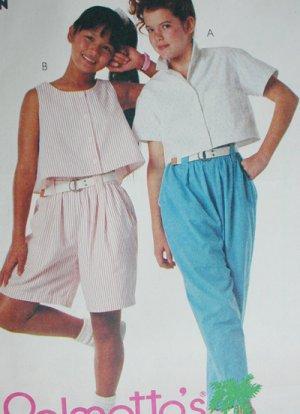 McCall 3596 girls top pants shorts sewing pattern size medium 8 to 10