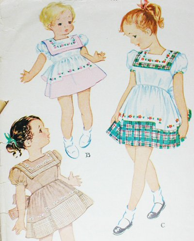 McCall 1418 vintage sewing pattern girl's dress sz 4 B23 contrast collar circa 1950s