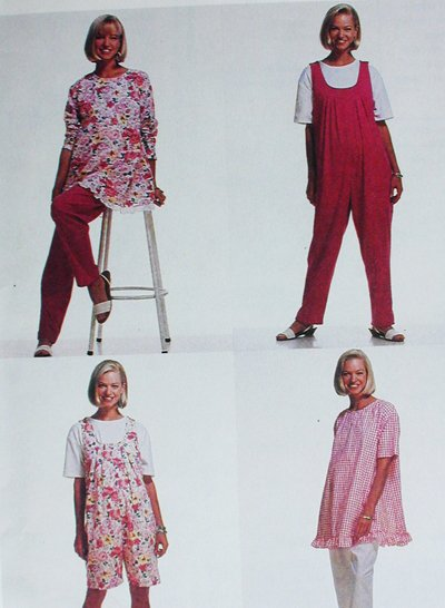McCall 6410 sewing pattern maternity tunic jumpsuit pants sz 10-14 uncut