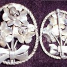Sterling vintage pin signed Raffaele flowers and bow oval jewelry