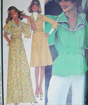 McCall 5495 vintage sewing pattern 1977 misses dress or top sz 12 B34