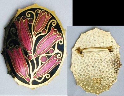 Cloisonne enamel pin flowers modern jewelry crown fish mark Thailand