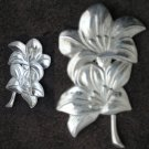 Vintage sterling silver flower pin marked Lang circa 1945 brooch jewelry