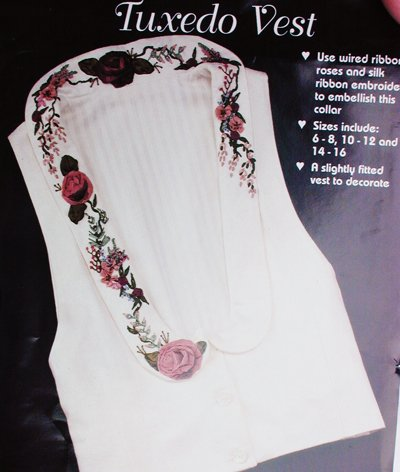 Tuxedo Vest sewing pattern silk ribbon embroidery sizes 6 to 16