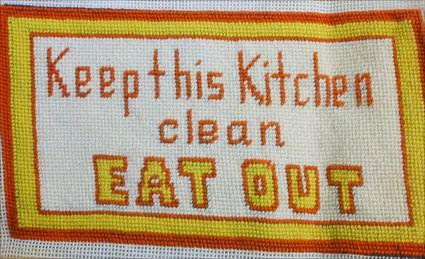 Finished needlepoint Keep Kitchen Clean Eat Out 10x5.5 inches completed canvas