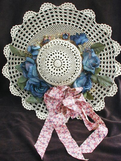 "Hand crocheted hat light beige blue flowers 15"" wall decor"