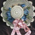 "Hand crocheted hat light beige blue flowers 15"" wall decor"