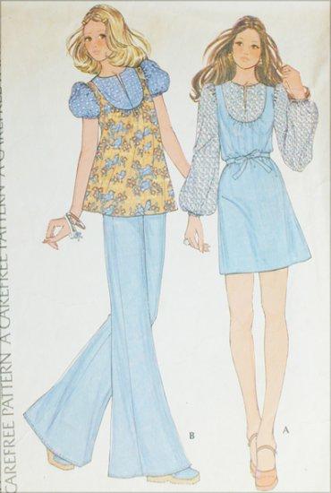 McCall 3683 vintage 1973 sewing pattern dress or jean top sz 8 B31.5