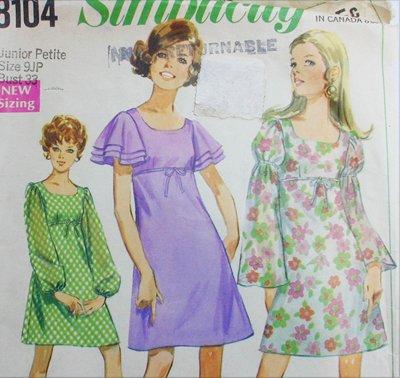 Simplicity 8104 vintage 1969 sewing pattern dress size 9 JP B33