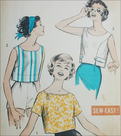 Advance 9030 vintage 1950s sewing pattern blouse top size 12 Bust 32
