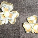 Jerry DeNicola vintage pin shamrock with rhinestones faux pearl gold tone jewelry