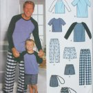 Simplicity 9499 sewing pattern loungewear boys sizes S M L mens sizes S M L XL UNCUT