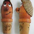 Vintage wooden bottle cork man with cigarette & cap