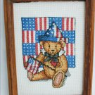 Finished cross stitch patriotic teddy bear flag red white blue 6x8 framed