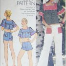 Simplicity 6280 sewing pattern vintage 1974 misses hip hugger pants top UNCUT size 12