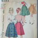 Simplicity 4151 vintage 1950s sewing pattern bandstand skirt sub teen 8S W23