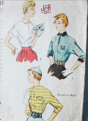 Simplicity 3381 vintage 1950 sewing pattern woman's blouse size 13 bust 31