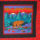 Cranston Print Works bear and fish pillow top fabric 2 panels
