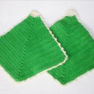Set of two crochet potholders green with cream edge 5 inches