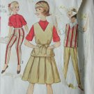 Simplicity 4085 vintage 1958 sewing pattern girls skirt blouse pants size 10 1/2 B 31 1/2