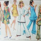 Simplicity 8234 vintage 1969 sewing pattern misses mini dress tunic bell bottom pants size 10 B32.5