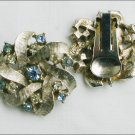 Clip earrings silver tone with blue rhinestones jewelry marked AK