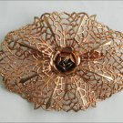 Vintage large oval copper colored pin open metal work rose center jewelry