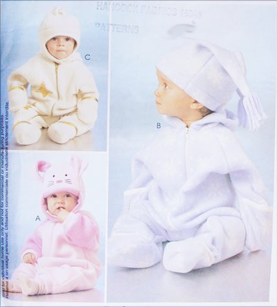 McCall 2977 infants bunting and hats size S M L XL sewing pattern