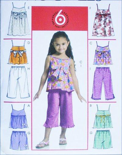 McCall M5308 girls summer tops dresses shorts capri pants sizes 3 4 5 6 UNCUT pattern
