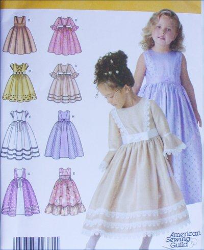 Simplicity 4337 girls party dress sleeveless long short sleeves UNCUT sizes 3 4 5 6