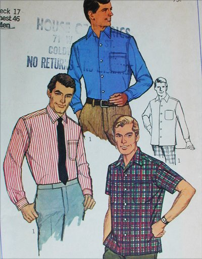 Simplicity 7745 mans shirt sewing pattern size neck 17 chest 46