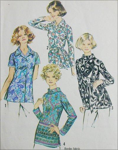 Simplicity 5359 misses blouse size 40 B44 vintage 1972 sewing pattern