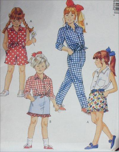 McCall's 6405 girls shirt skirt pants shorts sizes 4 5 6 UNCUT sewing pattern