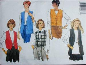 Butterick 4307 misses vest set size L XL sewing pattern
