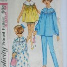 Simplicity 5552 childs nightgown PJs size 12 B30 vintage 1964 pattern
