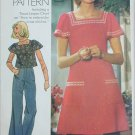 Simplicity 6508 misses dress top size 16 B38 with embroidery transfer 1974 pattern