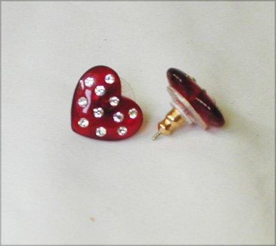 Avon red heart earrings embedded rhinestones plastic