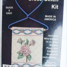 French Country cross stitch kit rose motif on wire hanger MIP