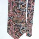 Van Heusen 100% silk man's necktie black red paisley 3 3/4 inch necktie
