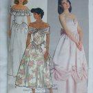 Butterick 3752 misses long prom dress size 6 pattern off shoulder 1986