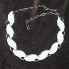 Vintage thermoset white necklace silver tone setting vintage jewelry