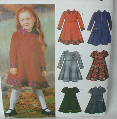 Simplicity 5827 girls child dress sizes 3 4 pattern sleeve collar variations
