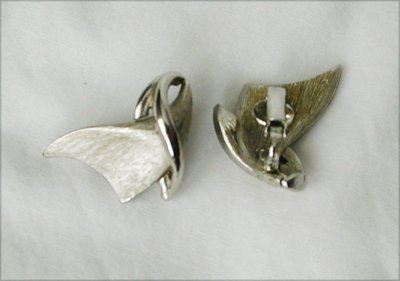 Burnished silver tone metal clip earrings vintage jewelry